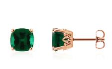 14K Rose Gold Green Emerald Earrings Cushion Cut Lab Gemstone Studs 1.9ct