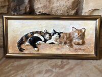 Vintage Cat Wall Art Hanging Framed 3 Cats Sleeping 3D Artist Signed Tabby