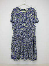 Dress Barn Short Sleeve V-Neck Fit and Flare Dress - Womens 14W - Blue - NWT