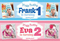 2 Personalised Birthday Banner Photo Children kids Baby Party Decoration Poster