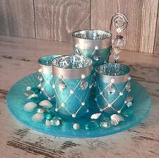 Dekoset Maritim Glasteller 4x Windlicht blau Glasnuggets Muscheln Geschenk Set
