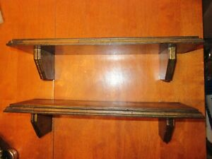 Vintage Set Lot Pair 2 Large Ornate Edge Detail Country Wood Wall Hanging Shelf