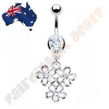 316L Surgical Steel Clear Cz Gem Belly Ring with Multi White Flower Dangle