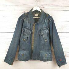 Vintage Firetrap Mens Black Seal Denim Jacket Size Large L