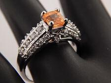 Gorgeous Orange Spessarite Garnet Diamond Ring 14k White Gold 1.40 tcw Engagemen