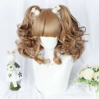 Short Curly Hair Party Mixed Brown Lolita Cosplay Wig With Ponytails Daily Style