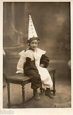BJ239 Carte Photo vintage card RPPC Enfant déguisement costume chapeau clown