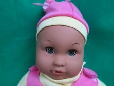 Gi-Go LAUGHING  Hispanic BABY DOLL SAYS MAMA PINK YELLOW PLUSH SLEEPY brown EYE