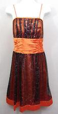 Juliet Prom Formal Dress Size L Short Orange Black Silver Cosplay Halloween