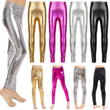 Kids Girls Dance Metallic Shiny Skinny Long Pants Gymnastics Stretchy Trousers