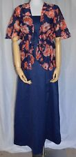 Vintage Navy Blue Sateen Formal Dress with Sheer Pink Blue Cover Up
