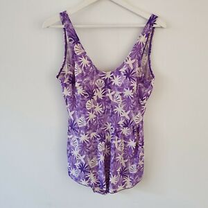 Vintage 80s Purple Swimsuit XL AU16 Cream Shell Print One Piece Skirted L Pinup