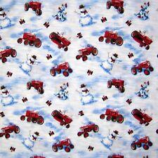 Christmas Fabric - Snowman Farmall Tractor Toss Snow - Print Concepts YARD