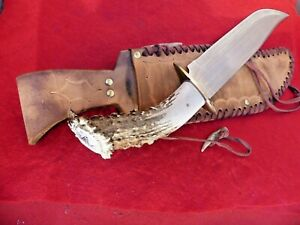 "mint custom deer scrimshaw pommel crown stag mint 16.5"" overall Bowie knife"
