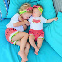3PCS Toddler Baby Kids Girl Cute Top + Shorts Pants Outfits Sunsuit Clothes Set