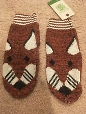 BRAND NEW Fox Face Mittens Green 3 Apparel Recycled Cotton Animal Gloves Unisex