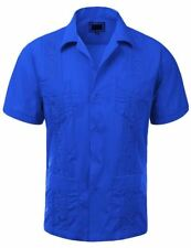 Maximos Beach Wedding Guayabera Royal Short Sleeve Men's Button-up Shirt XL