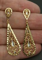 10k Yellow Solid gold dangling Openwork chandelier Filigree Earrings  2 ""