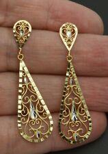 "10k Yellow Solid gold dangling Openwork chandelier Filigree Earrings  2 """