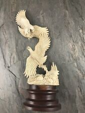 Alaska Eagle And Fish Carving From Antler Handmade