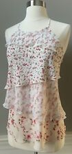 NWT $68 WHITE HOUSE BLACK MARKE Tiered Floral Pink Halter Top Size M medium