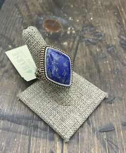 Barse Concord Ring- Lapis- Bronze & Sterling Silver-8-NWT