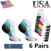 6 Pairs Compression Socks Plantar Fasciitis Arch Ankle Running Support Men Women