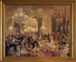 Classic Framed Adolph Menzel The Ballsouper  Giclee Canvas Print