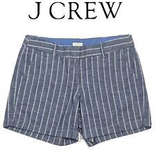 J. Crew Women's Chino Striped Shorts Size 4 Blue