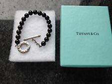 Tiffany&Co Silver And Black Onyx Bead Bracelet 7.5""