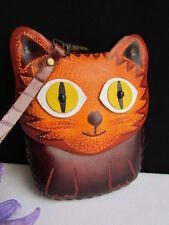 NEW WOMEN DARK BROWN CAT PURSE SMALL COIN BAG GENUINE LEATHER WALLET KEY CHAIN