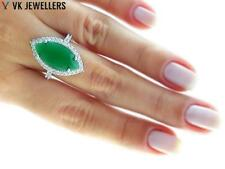 TURKISH JEWELRY UNIQUE WHITE GOLD PLATED 925 STERLING EMERALD RING SZ 7.75 R2080