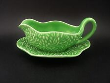 Vintage English China Embossed Leaf Gravy Sauce Boat & Underplate c1930s