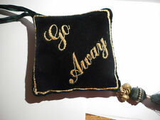 WELCOME-GO AWAY Velvet, gold thread, bells-Wedding Gift Idea HANG ON DOOR classy