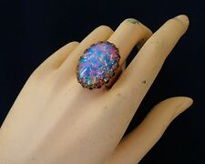 Vintage Tall Ring Huge Harlequin Opal Adjustable Brass Base