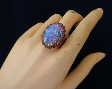 Vintage Tall Ring Huge Harlequin Opal Adjustable Brass Base