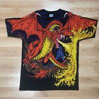 Vintage 90s 1993 Liquid Blue Dragon Knight Medieval All Over Print Shirt Mens XL