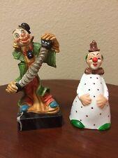 "2 Collectible Clowns-5 1/4"" Figurine 4 1/2"" Ceramic Clown Bell"