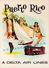 Puerto Rico 1960 Swim Sun Sail Golf Airline Travel Vintage Poster Print  Art