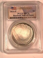 2014P Baseball Hall of Fame $1 Silver Mint State PCGS MS70  First Strike