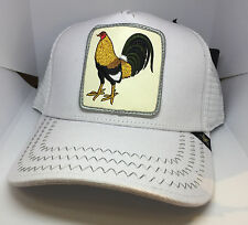 NEW GOLD STAR White ANIMAL FARM FIGHT COCK TRUCKER HAT  GOLD STAR
