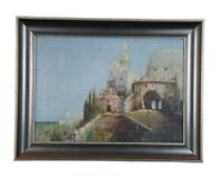 H. Green 1929 Signed Impressionist Oil Painting Cityscape Church Temple Mosque