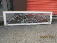 NICELY BEVELED ANTIQUE LEADED GLASS TRANSOM SQUARE  WINDOW   CAN SHIP!!!!!!!