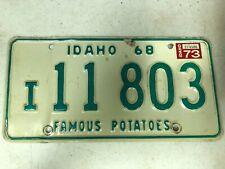 1968 (1973 Tag) IDAHO Idaho County License Plate I-11803