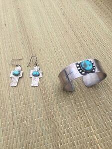 Diane Johnson Sterling Silver Turquoise Bracelet Earring Set Cross Vintage
