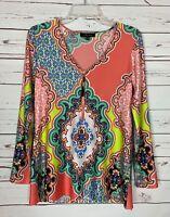 Melissa Paige Boutique Coral Floral Tunic Top Blouse Shirt Women's Size S Small