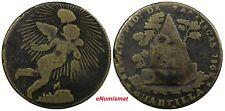 "Mexico Zacatecas Brass 1862 1/4 Real ""Quarto/Quartilla"" Overdate SCARCE KM# 366"