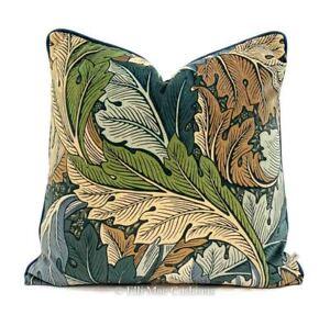 William Morris Luxury Designer Acanthus Velvet Vintage Blue Cushion Pillow Cover