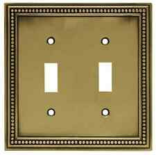 W10102-ABT Antique Brass Beaded Double Switch Cover Plate