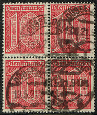 GERMANY 1920 DR OFFICIAL USED STAMP MI # 24 BLOCK OF FOUR WARRANTY INFLA BERLIN